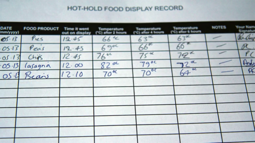 Hot hold food record keeping as part of food health and safety