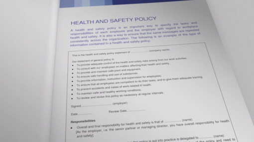 A list of responsibilities and legal requirements for health and safety essential requirements