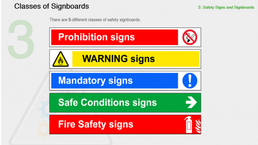 A variety of safety signs and signboards for healthy and safety essentials