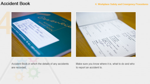 An accident book as part of workplace health and safety essentials and Emergency Procedures