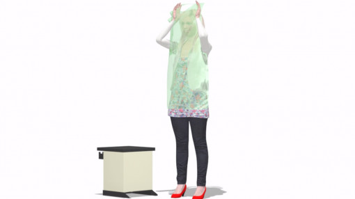 Image of female figure replacing waste bin as part of infection prevention and control
