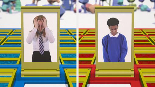 2 School children look distressed