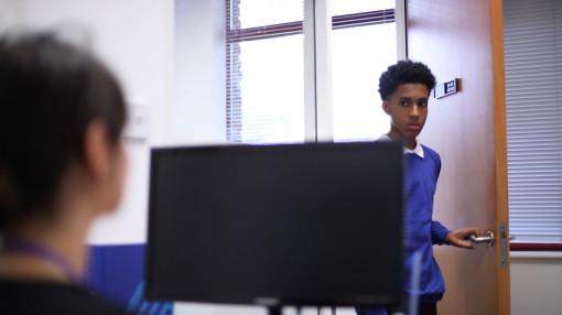 Pupil enters teachers office