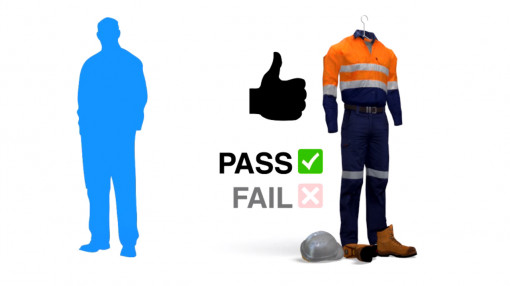 A Personal Protective Equipment uniform with a thumbs up and a pass