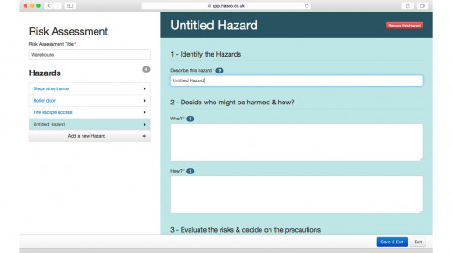 Screenshot of risk assessment tool from the risk assessment training course