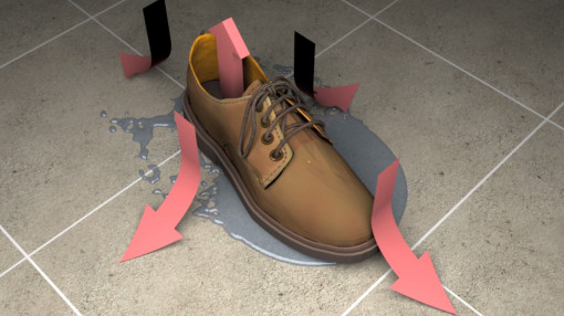 A shoe in spilt liquid showing the directional risks of slips, trips and falls in the workplace