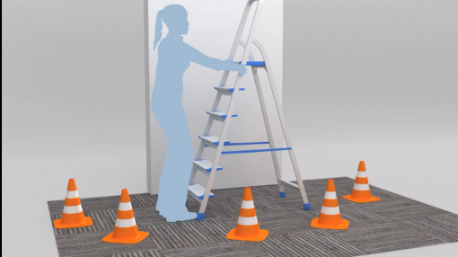 A figure showing the correct way to use ladders with hazard cones as part of slips, trips and falls training
