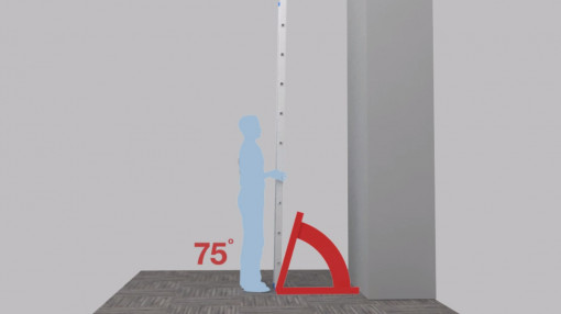 A figure stood with a ladder and an angle of 75 degrees to follow best practices of slips, trips and falls training