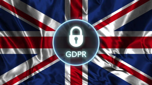 A GPDR logo with the UK flag in the background