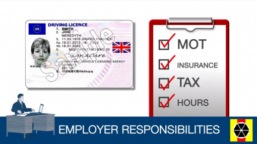 A list of employer responsibilities for jobs that involve driving awareness
