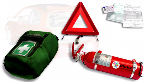 Insurance details, first aid kit,  fire extinguisher and a warning triangle for breakdowns and accidents for driver awareness training