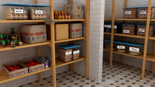 A store room of food allergens separated in boxes to avoid cross contamination