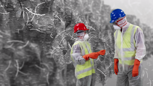 A close-up of asbestos with two people in protective suits - Asbestos Awareness Training