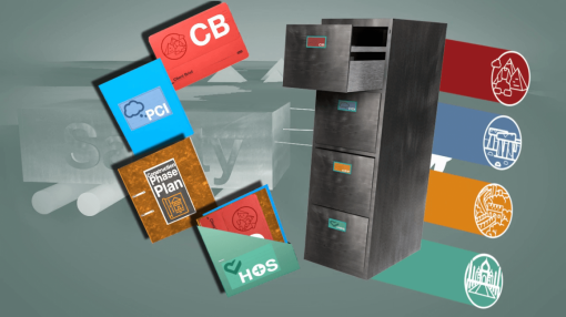 A selection of CDM folders next to a filing cabinet - CDM Regulations Training