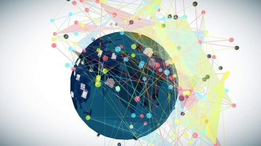 Colourful network of files, passwords and devices on top of a globe illustration - GDPR Training for Management
