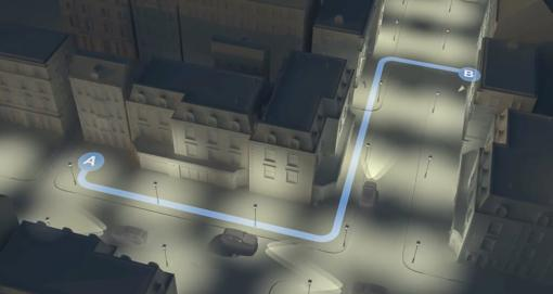 An illustration mapping a route down a dark street - Lone Working In the Workplace
