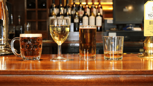 A selection of drinks on a bar - Bar Staff Training