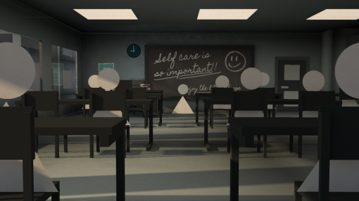 An animation showing students and their teacher - Mental Health Awareness for Education Professionals
