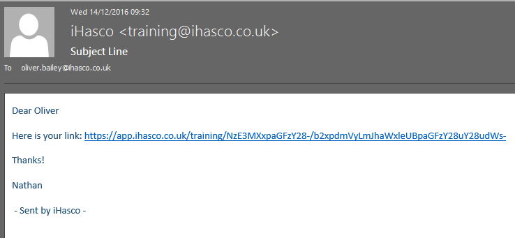 Image showing example of received email